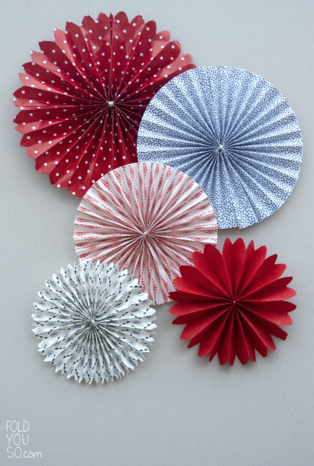 Red White and Blue Paper Fans by Fold You So!